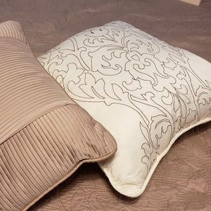 Accent Throw Pillows, 1 White Embroidered, 1 Tan